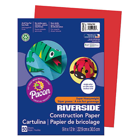 """Riverside® Groundwood Construction Paper, 100% Recycled, 9"""" x 12"""", Holiday Red, Pack Of 50"""