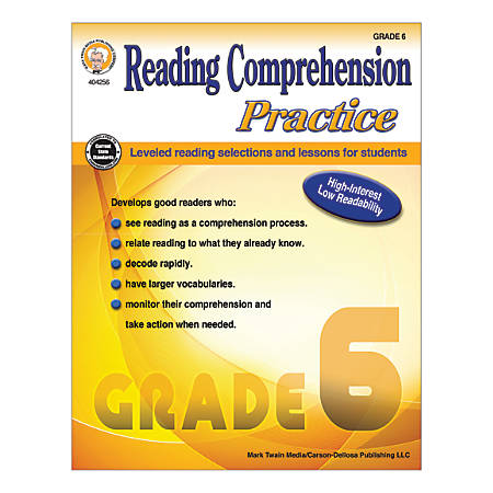 Mark Twain Media Reading Comprehension Practice, Grade 6