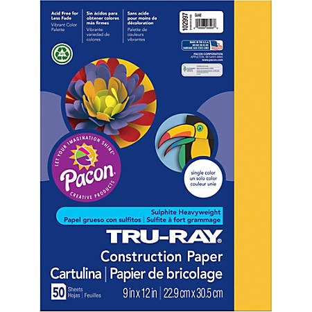 """Tru-Ray Construction Paper - Project - 12"""" x 9"""" - 50 / Pack - Gold - Sulphite"""