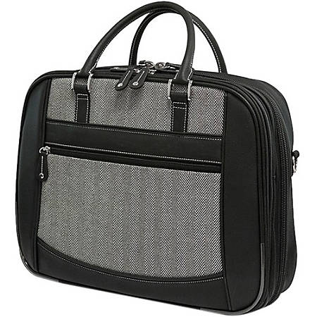 "Mobile Edge ScanFast Carrying Case (Briefcase) for 16"" Ultrabook - Black, White - Koskin - Herringbone - Checkpoint Friendly - Shoulder Strap - 13.5"" Height x 17"" Width x 5"" Depth"