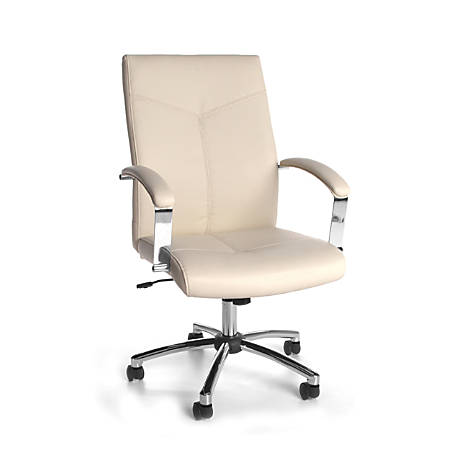 OFM Essentials Vinyl Mid-Back Conference Chair, Cream/Chrome