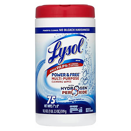 Lysol® Power & Free™ Multipurpose Disinfecting Wipes, Oxygen Splash Scent, Canister Of 75 Wipes
