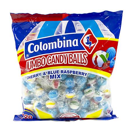 Colombina Jumbo Cherry And Blue Raspberry Balls, 38.1-Oz Bag