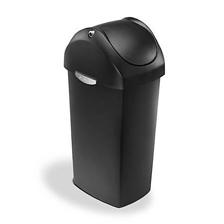 simplehuman® Swing Lid Can, 15 Gallons, Black