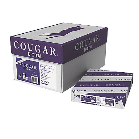Cougar® Digital Printing Paper, Letter Size, 98 Brightness, 100 Lb Text (148 gsm), FSC® Certified, White, 250 Sheets Per Ream, Case Of 10 Reams