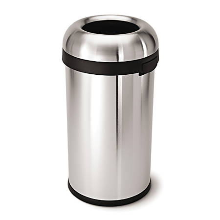 simplehuman® Bullet Open Top Commercial Heavy-Gauge Trash Can, 16 Gallons, Brushed Stainless Steel