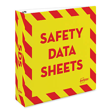 "Avery® Preprinted Safety Data Sheet Binder, 2"" Rings, Red/Yellow"