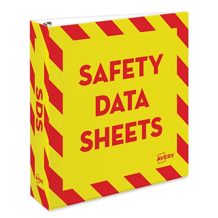 avery preprinted safety data sheet binder 2 rings redyellow by