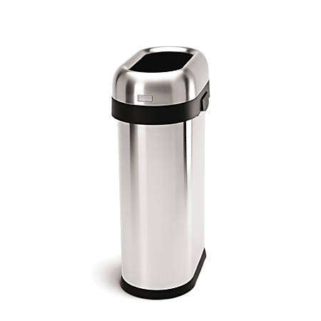 simplehuman Slim Open Trash Can, 13 Gallons, Brushed Stainless Steel