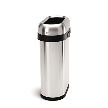Simplehuman Slim Open Trash Can, 13 Gallons, Brushed Stainless Steel Item #  231268