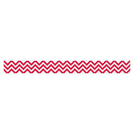 "Creative Teaching Press Chevron Border - (Border) Shape - Chevron - 3"" Width x 420"" Length - Poppy Red, White - 1 Each"