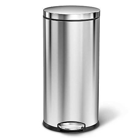 simplehuman® Round Steel Step Trash Can, 9.25 Gallons, Dark Bronze