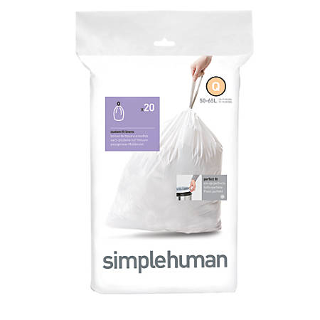 simplehuman® Custom Fit Can Liners, Q, 50-65L/13-17G, White, Pack Of 240