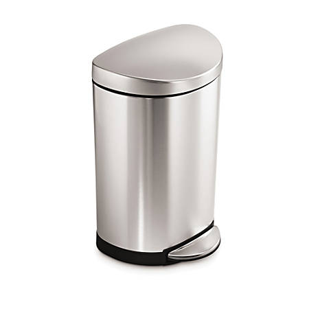 simplehuman® Semi-Round Fingerprint-Proof Step Trash Can, 2.6 Gallons, Brushed Stainless Steel