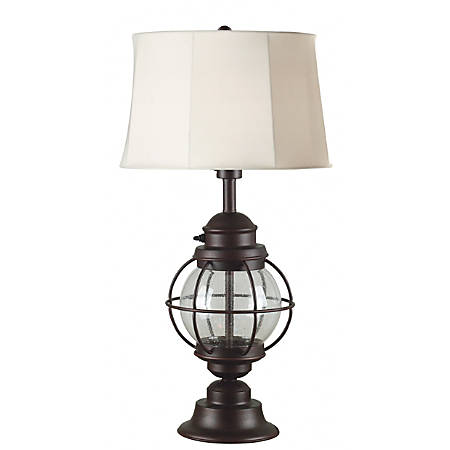 """Kenroy Hatteras Outdoor Table Lamp, 31""""H, Chocolate And White Shades/Copper Base"""