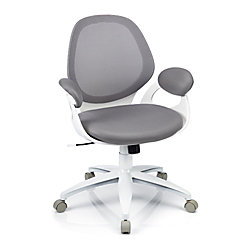 "Mesh Mid-Back Chair With Rounded Back, 39 1/5""H x 27 1/5""W x 24 4/5""D, Gray/White"