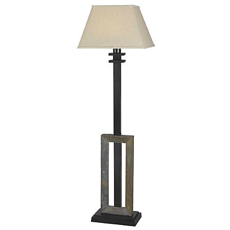 "Kenroy Home Egress Outdoor Floor Lamp, 60"", Tan Shade/Natural Slate Base"