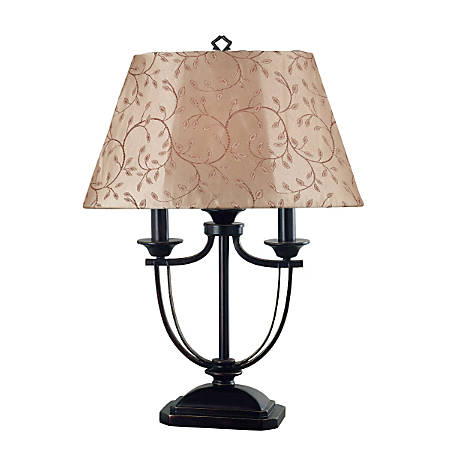 """Kenroy Belmont Outdoor Table Lamp, 28""""H, Taupe Shade/Bronze Base"""