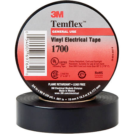 "3M™ 1700 Electrical Tape, 1.5"" Core, 0.75"" x 60', Black, Case Of 20"