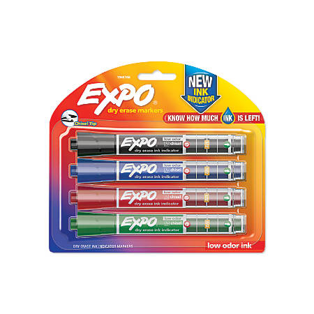 EXPO® Ink Indicator Dry-Erase Markers, Chisel Tip, Assorted Colors, Box Of 4