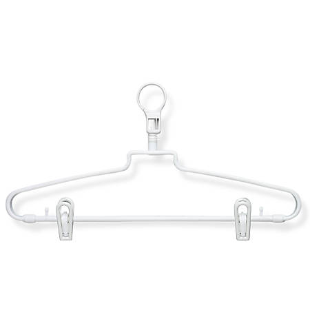 """Honey-Can-Do Hotel-Style Hangers With Security Loops And Clips, 9""""H x 1/2""""W x 15 3/4""""W, White, Pack Of 72"""
