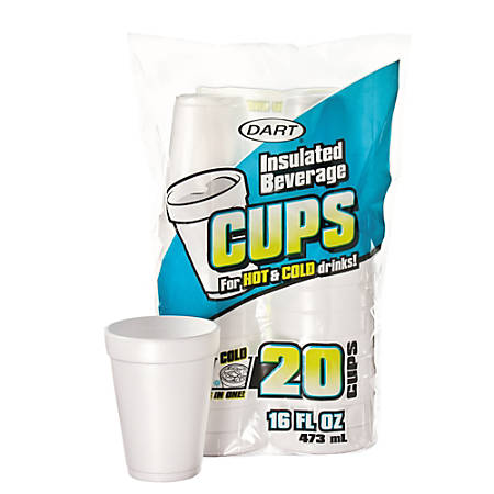 Dart® Insulated Foam Drinking Cups, White, 16 Oz, Box Of 20