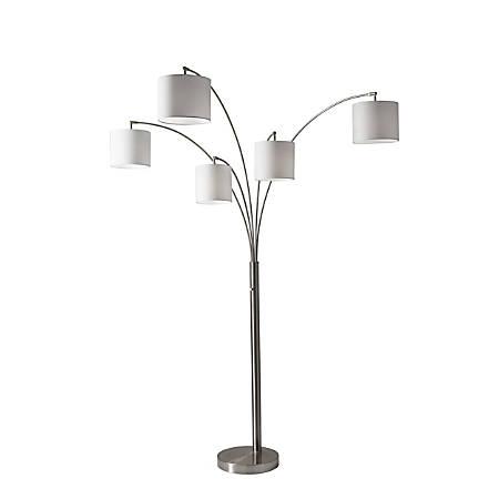 "Adesso® Trinity 5-Arm Arc Lamp, 82""H, White Shade/Brushed-Steel Base"