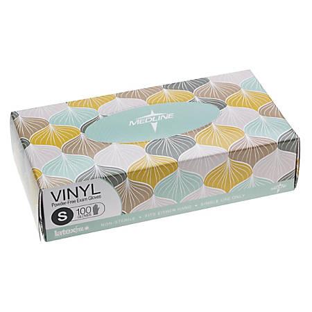 Medline Designer Disposable Powder-Free Vinyl Exam Gloves, Small, Clear, Pack Of 1,000