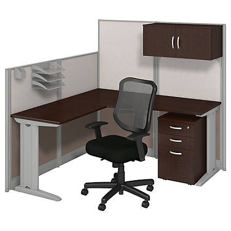 Bush Business Furniture Office In An Hour L Workstation with Storage & Chair, Mocha Cherry Finish, Premium Delivery
