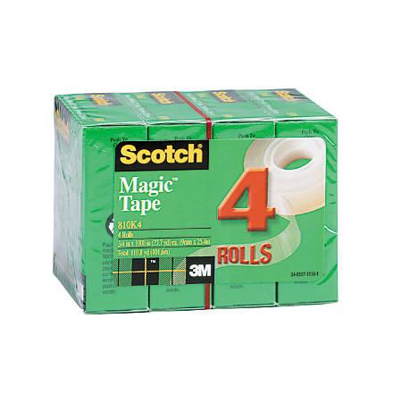 """Scotch® Magic™ 810 Tape, 3/4"""" x 1,000"""", Clear, Pack Of 4 Rolls"""