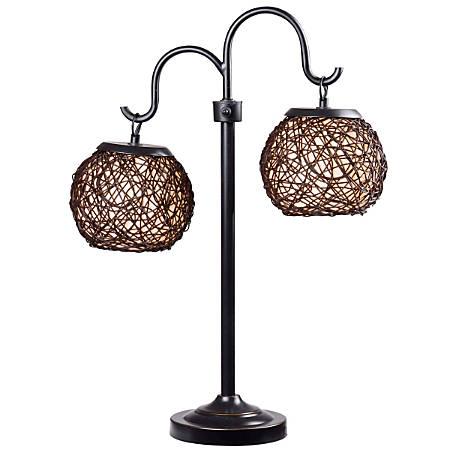 """Kenroy Castillo Outdoor Table Lamp, 29""""H, Cream Shade/Bronze Base"""