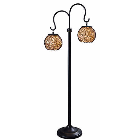 "Kenroy Home Castillo Outdoor Floor Lamp, 62""H, Cream/Bronze"