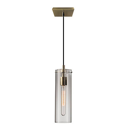Adesso® Dalton Hanging Pendant, Clear Shade/Antique Brass Base