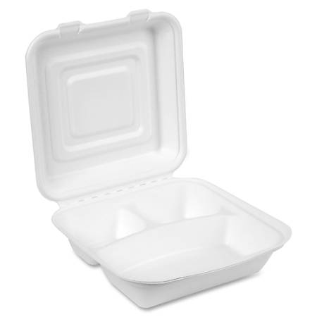 """Dixie EcoSmart 3-compartment Container - 9"""" Diameter Food Container - Molded Fiber - Disposable - Microwave Safe - White - 50 Piece(s) / Pack"""