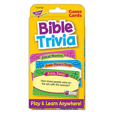 "TREND Bible Trivia Challenge Cards, 3 1/8"" x 5 1/4"", Grades K-3, Pack Of 56"