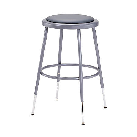 "National Public Seating Adjustable Vinyl-Padded Stool, 19 - 26 1/2""H, Gray"