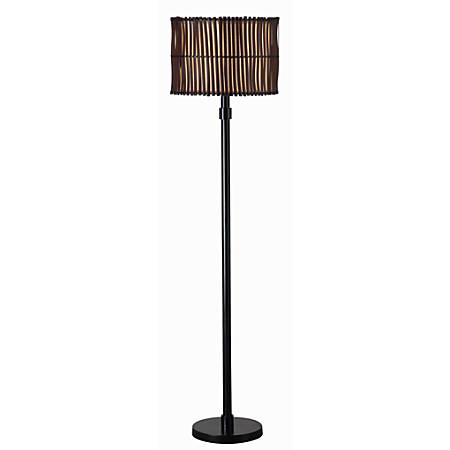 "Kenroy Home Bora Outdoor Floor Lamp, 59""H, Tan And Brown Shade/Bronze Base"