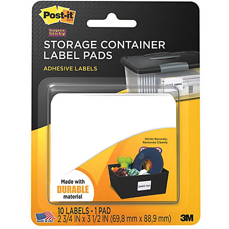 """Post-it® Removable Storage Container Labels, 2800-SC, 2 3/4"""" x 3 1/2"""", White, Pack Of 10"""