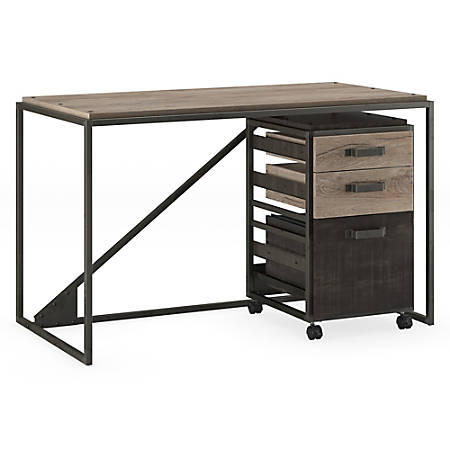 """Bush Furniture Refinery Industrial Desk With 3 Drawer Mobile File Cabinet, 50""""W, Rustic Gray/Charred Wood, Standard Delivery"""