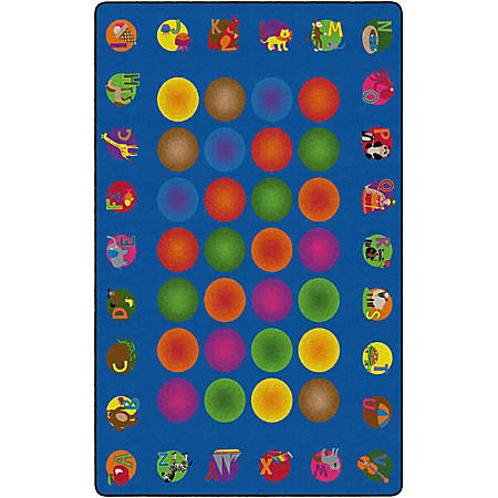 """Flagship Carpets Circle Time Learning Rug, Rectangle, 7' 6"""" x 12', Multicolor"""