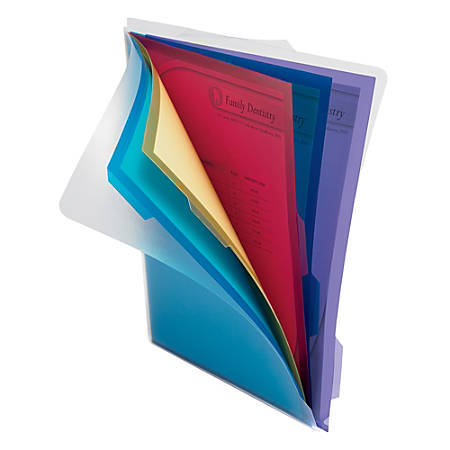Office Depot® Brand 5-Folder Poly Project Organizer, Letter Size, Assorted Colors (No Color Choice)