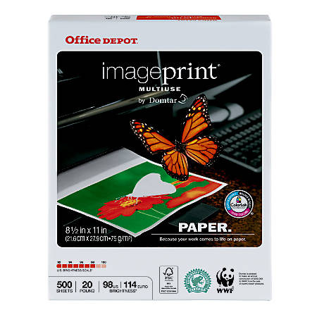 Office Depot® Brand ImagePrint® Multiuse Paper, Letter Paper Size, 20 Lb, FSC® Certified, White, Ream Of 500 Sheets