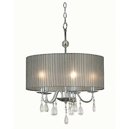 "Kenroy Arpeggio 5-Light Hanging Pendant, 25""H, Silver Shade/Chrome Finish"
