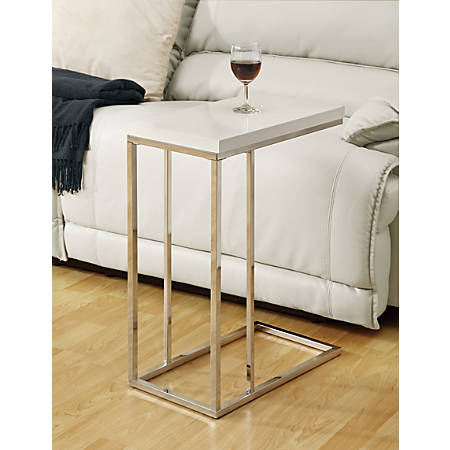 Monarch Specialties Hollow-Core Accent Table With Chrome Base, Rectangle, Glossy White