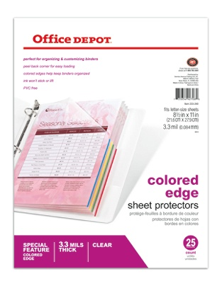 Office Depot Brand Top Loading Sheet Protectors Heavyweight Clear ...