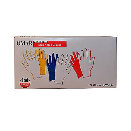 Omar Powder-Free Nitrile Gloves, Medium, Blue, Box Of 100