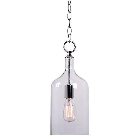 """Kenroy Capri 1-Light Hanging Pendant Lamp, Mini, 15""""H, Clear Shade/Chrome Finish"""