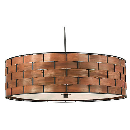 "Kenroy Shaker Hanging Pendant Lamp, 3-Light, 7""H, Brown Shade, Black Base"