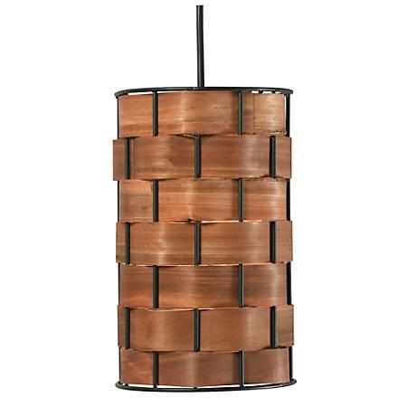 "Kenroy Shaker Hanging Pendant Lamp, Mini, 1-Light, 10""H, Brown Shade, Black Base"