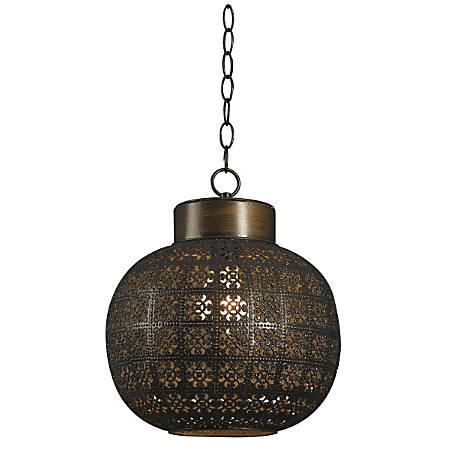 "Kenroy Seville 1-Light Mini Hanging Pendant, 13""H, Aged Bronze"